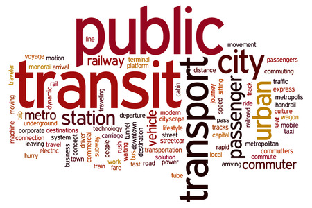 Public transit concept word cloud background Banco de Imagens