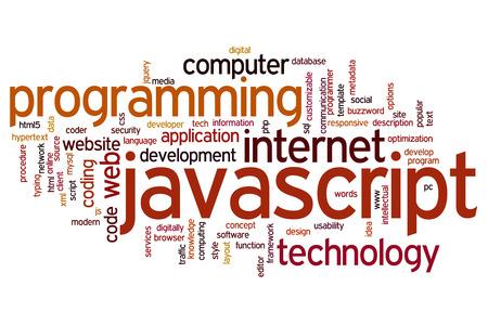 javascript: Concepto Javascript nube de palabras de fondo