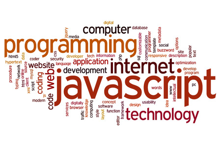 mysql: Javascript concept word cloud background Stock Photo