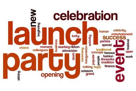 Launch party concept word cloud background photo