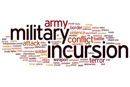 incursion: Concept de l'incursion militaire nuage de mots fond Banque d'images