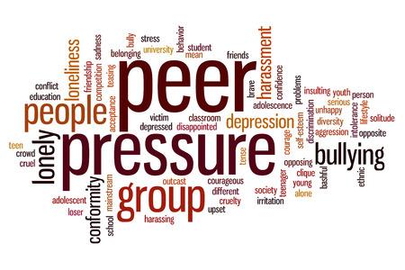 peer to peer: Peer concepto de presi�n nube de palabras de fondo