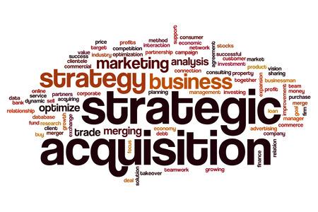 戦略的買収の概念単語雲の背景