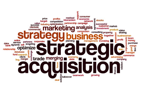 Strategic acquisition concept word cloud background