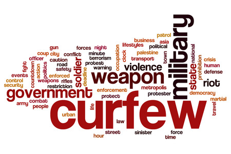 curfew: Curfew concept word cloud background