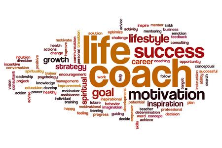 生命コーチの概念単語クラウド背景