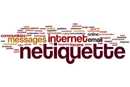 professionalism: Netiquette concept word cloud background Stock Photo