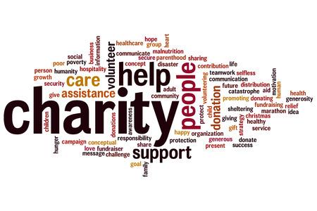 Charity-concept, Woord, wolk achtergrond