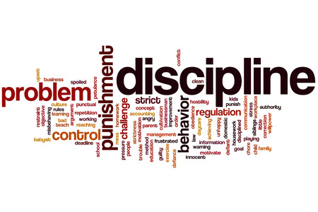 Disciplina concetto, parola, nuvola sfondo