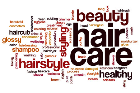 natural health and beauty: Hair care concept word cloud background
