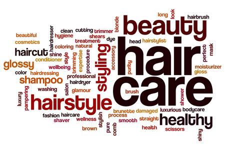 naturel: Soins des cheveux concept de nuage de mots fond Banque d'images