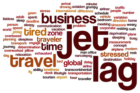 lag: Jet lag concept word cloud background Stock Photo