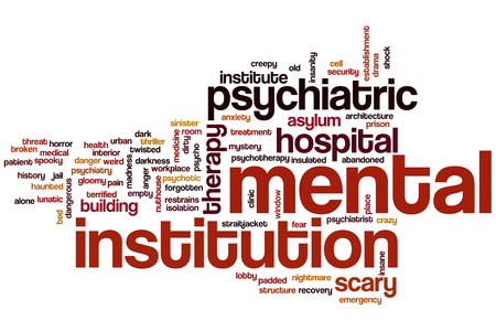 Mental institution concept word cloud background