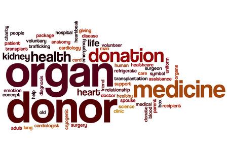 organ donation: Organ donor concept word cloud background