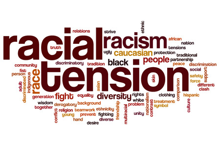 Racial tension concept word cloud background photo