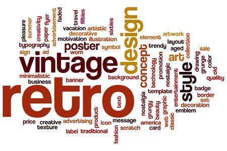 Retro concept word cloud background photo