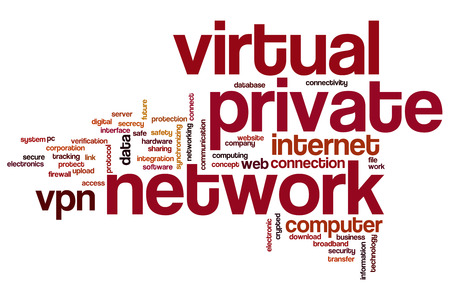 Virtuale private network concept word cloud background Stockfoto