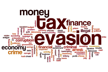 evasion: Tax evasion concept word cloud background Stock Photo