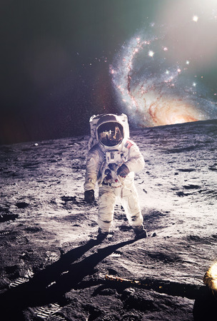 launch: Astronaut walking on moon with galaxy background.