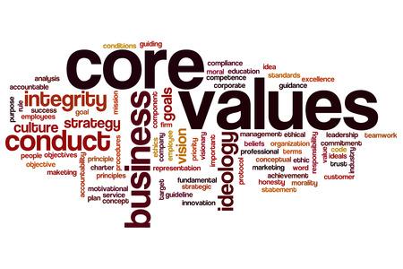 nucleo: Valores fundamentales concepto de nube de palabras de fondo Foto de archivo
