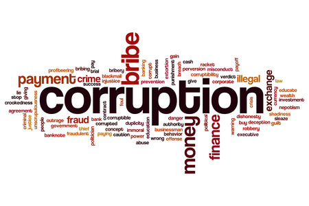 Corruption concept word cloud background
