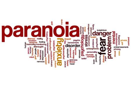 paranoia: Paranoia nube concetto di parola sfondo Archivio Fotografico