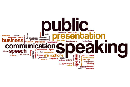 Public speaking concept word cloud background