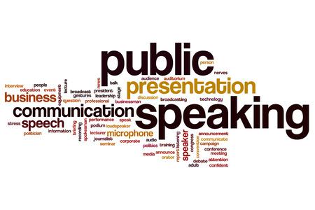 Spreken in het openbaar begrip woordwolk achtergrond Stockfoto
