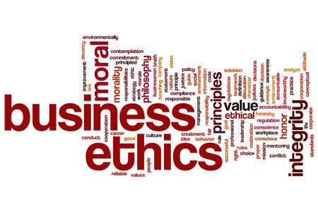 work ethic responsibilities: Business ethics concept word cloud background