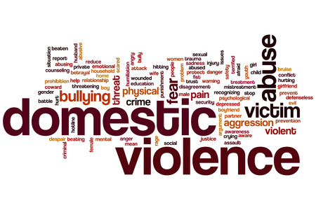 Domestic violence concept word cloud background