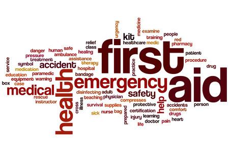 最初の援助の概念単語クラウド背景