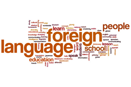 Foreign language concept word cloud background photo