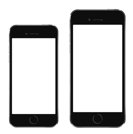 Brand new realistic mobile phone black smartphone in two sizes mockup with blank screen isolated on white background