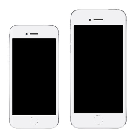 six: Brand new realistic mobile phone white smartphone in two sizes mockup with blank screen isolated on white background