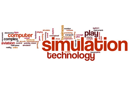 simulate: Simulation concept word cloud background