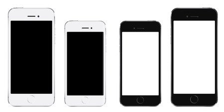 blank tablet: Brand new realistic mobile phone black smartphone in two sizes mockup with blank screen isolated on white background