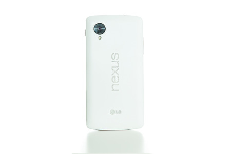 TOURS, FRANCE - September 28,2014: The Nexus 5 is a smartphone co-developed by Google and LG Electronics that runs the Android operating system.