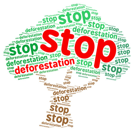 Stop deforestation word cloud in a shape of a tree, isolated on white