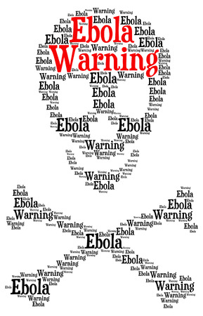 Ebola warning word cloud in a shape of a skull with crossed bones as a symbol for danger isolated on white photo