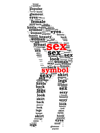 symbol word cloud in shape of sexy woman isolated on white