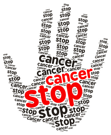 liver cancer: Stop Cancer word cloud in the shape of a palm, isolated on white Stock Photo