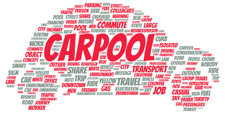 Carpool word cloud shape concept