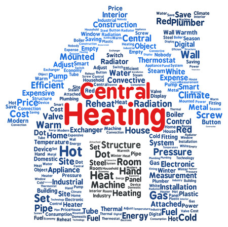 Central heating word cloud shape concept photo