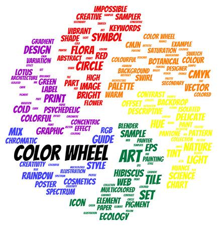 Color wheel word cloud shape concept photo