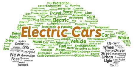 Electric cars word cloud shape concept