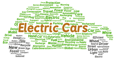 Electric cars word cloud shape concept
