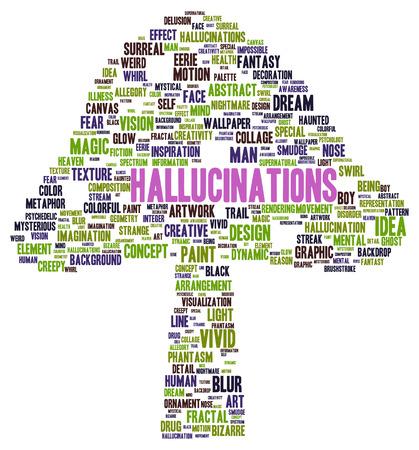 Hallucinations word cloud shape concept Stock Photo