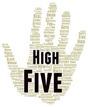 high five: High five word cloud shape concept