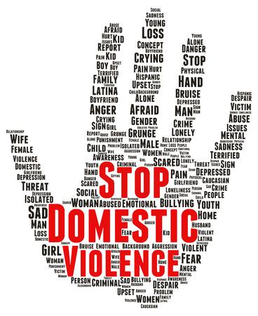 Stop huiselijk geweld woordwolk vorm begrip Stockfoto