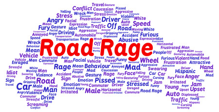 road rage: Road rage word cloud shape concept Stock Photo